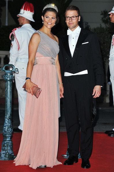 Monaco Royal Wedding - Dinner Arrivals and Fireworks [flooring,fashion,formal wear,carpet,suit,fashion model,red carpet,gown,event,haute couture,arrivals,daniel,charlene of monaco,victoria,albert ii,fireworks,monaco,monaco royal wedding,wedding,dinner]