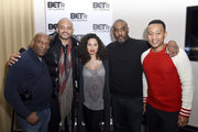 John Singleton, actress Jurnee Smollett-Bell, producer and talent manager Mike Jackson and singer John Legend attend the Private Dinner Hosted by BET Networks and Liquid Soul at Waldorf Astoria Park City on January 20, 2017 in Park City, Utah.