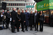 CEO of NYC and Company George Fertitta, Nina Garcia, Michael Kors, Deputy Mayor Robert Lieber, President of Fashion BID Barbara Randall, Tim Gunn and CEO and President of Lifetime Networks Andrea Wong attend the Project Runway Avenue temporary street renaming at 39th Street and Seventh Avenue on January 13, 2010 in New York City.
