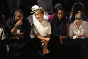 Model Hailey Baldwin (2nd L) and singer Justine Skye attend Public School Spring 2016 during New York Fashion Week: The Shows at The Arc, Skylight at Moynihan Station on September 13, 2015 in New York City.