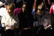 (L-R) Model Hailey Baldwin, singer Justine Skye, and Chelsea Leyland attend Public School Spring 2016 during New York Fashion Week: The Shows at The Arc, Skylight at Moynihan Station on September 13, 2015 in New York City.