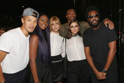 (L-R) Dao-Yi Chow,  Justine Skye, Hailey Baldwin, Russell Westbrook, Olivia Culpo and Maxwell Osborne pose backstage after the Public School fashion show during Spring 2016 New York Fashion Week: The Shows at The Arc, Skylight at Moynihan Station on September 13, 2015 in New York City.