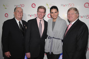 """Joe Moore, President and CEO of FFANY, Mike George, President and CEO of QVC Inc., Actress Angie harmon and  Ronald Fromm, Chairman and CEO of Brown Shoe Co.  attend """"FFANY Shoes on Sale"""" Benefit for Breast Cancer Research and Education, presented by QVC at Frederick P. Rose Hall, Jazz at Lincoln Center on October 13, 2010 in New York, New York."""
