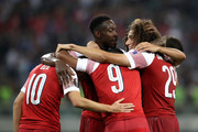 Matteo Guendouzi of Arsenal celebrates with teammates after scoring his team's third goal during the UEFA Europa League Group E match between Qarabag FK and Arsenal at  on October 4, 2018 in Baku, Azerbaijan.