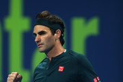 Roger Federer of Switzerland celebrates set point win in his match against Dan Evans of Great Britain on Day 3 of the Qatar ExxonMobil Open at Khalifa International Tennis and Squash Complex on March 10, 2021 in Doha, Qatar.