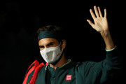 Roger Federer of Switzerland walks out to play in his match against Dan Evans of Great Britain on Day 3 of the Qatar ExxonMobil Open at Khalifa International Tennis and Squash Complex on March 10, 2021 in Doha, Qatar.