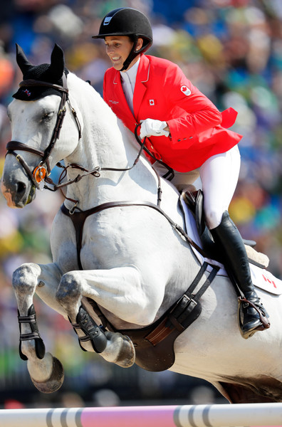 Equestrian - Olympics: Day 4 [horse,bridle,equestrian,rein,animal sports,sports,halter,horse tack,mammal,horse supplies,colleen loach,olympics,qualifier,qorry blue dargouges,canada,rio de janeiro,brazil,olympic equestrian centre,eventing team,rio 2016 olympic games]