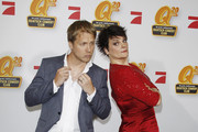 Oliver Pocher and Gayle Tufts arrive for the Quatsch Comedy Club 20th Anniversary gala on February 1, 2012 in Berlin, Germany.