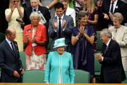 Tim Henman (top), Queen Elizabeth II and the Duke of Kent (L) ahead of the second round match between Andy Murray of Great Britain against Jarkko Nieminen of Finland on Day Four of the Wimbledon Lawn Tennis Championships at the All England Lawn Tennis and Croquet Club on June 24, 2010 in London, England.