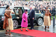 Queen Elizabeth II arrives at the Sainsbury Centre at the University of East Anglia to visit the Fiji Exhibition on January 27, 2017 in Norwich, England.