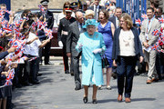 Queen Elizabeth II and Prince Philip, Duke of Edinburgh arrive at Mayflower Primary School during an official visit to Tower Hamlets on June 15, 2017 in London, England.  The visit coincides with commemorations for the centenary of the bombing of Upper North Street School during the First World War.