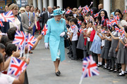 Queen Elizabeth II and Prince Philip, Duke of Edinburgh leave Mayflower Primary School during an official visit to Tower Hamlets on June 15, 2017 in London, England.  The visit coincides with commemorations for the centenary of the bombing of Upper North Street School during the First World War.