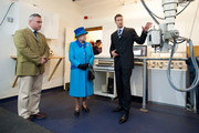 Queen Elizabeth II looks at an equine x-ray machine during an official visit to Cotts Farm Equine Hospital, Narbeth on April 29, 2014 in Narbeth, Wales. The Cotts Equine Hospital is a purpose-built facility offering veterinary equine care.