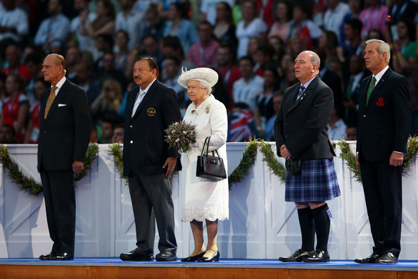 Queen Elizabeth II (L-R) Prince Philip, Duke of Edinburgh, HRH Prince Imran the CGF President, Queen Elizabeth II, Patron of the CGF, Michael Cavanagh, Chairman Commonwealth Games Scotland and The Chairman of Glasgow 2014, Lord Smith of Kelvin during the Opening Ceremony for the Glasgow 2014 Commonwealth Games at Celtic Park on July 23, 2014 in Glasgow, Scotland.
