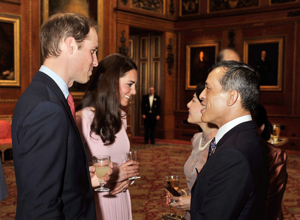 Catherine, Duchess of Cambridge and Prince William, Duke of Cambridge speak to Crown Prince Maha Vajiralongkorn and Princess Ubolratana Rajakanya of Thailand during a reception in the Waterloo Chamber, before the Lunch For Sovereign Monarchs at Windsor Castle, on May 18, 2012 in Windsor, England.