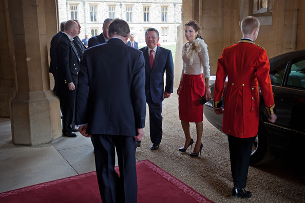 King Abdullah II of Jordan and Queen Rania of Jordan arrive at a lunch For Sovereign Monarchs in honour of Queen Elizabeth II's Diamond Jubilee, at Windsor Castle, on May 18, 2012 in Windsor, England.