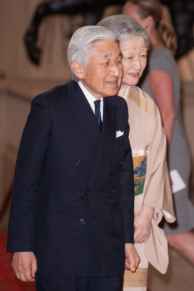 Emperor Akihito of Japan and Empress Michiko arrive at a lunch for Sovereign Monarch's held in honour of Queen Elizabeth II's Diamond Jubilee, at Windsor Castle, on May 18, 2012 in Windsor, England.