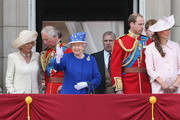 Camilla, Duchess of Cornwall, Prince Charles, Prince of Wales, Queen Elizabeth II, Prince Andrew, Duke of York, Prince William, Duke of Cambridge and Catherine, Duchess of Cambridge stand on the balcony at Buckingham Palace during the annual Trooping the Colour Ceremony on June 15, 2013 in London, England. Today's ceremony which marks the Queens official birthday will not be attended by Prince Philip the Duke of Edinburgh as he recuperates from abdominal surgery and will also be The Duchess of Cambridge's last public engagement before her baby is due to be born next month.
