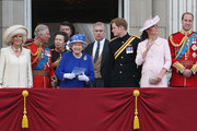 Camilla, Duchess of Cornwall, Prince Charles, Prince of Wales, Sir Timothy Laurence, Princess Anne, Princess Royal, Queen Elizabeth II, Prince Andrew, Duke of York, Prince Harry, Catherine, Duchess of Cambridge and Prince William, Duke of Cambridge stand on the balcony at Buckingham Palace during the annual Trooping the Colour Ceremony on June 15, 2013 in London, England. Today's ceremony which marks the Queens official birthday will not be attended by Prince Philip the Duke of Edinburgh as he recuperates from abdominal surgery and will also be The Duchess of Cambridge's last public engagement before her baby is due to be born next month.