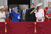 Camilla, Duchess of Cornwall, Camilla, Duchess of Cornwall, Princess Anne, Princess Royal, Queen Elizabeth II, Prince Andrew, Duke of York, Prince Harry, Catherine, Duchess of Cambridge and Prince William, Duke of Cambridge stand on the balcony at Buckingham Palace during the annual Trooping the Colour Ceremony on June 15, 2013 in London, England. Today's ceremony which marks the Queens official birthday will not be attended by Prince Philip the Duke of Edinburgh as he recuperates from abdominal surgery and will also be The Duchess of Cambridge's last public engagement before her baby is due to be born next month.