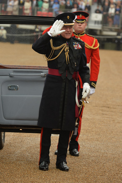 Prince Philip, Duke of Edinburgh arrives with Queen Elizabeth II at Horse Guards Parade where she will present the Household Cavalry with new standards, on May 28, in 2014 in London, Untied Kingdom.