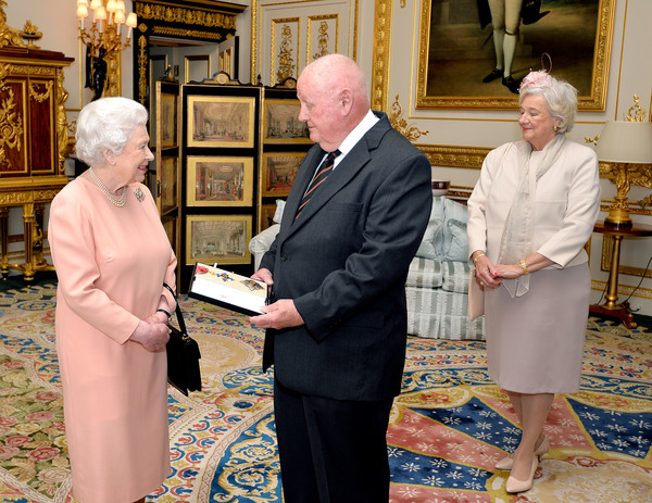 John Mars Receives Knighthood From The Queen [knighthood,john mars,elizabeth ii,john mars receives,queen,pope,religious institute,event,bishop,nuncio,clergy,windsor castle,american,england]