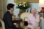 Prime Minister of Canada Justin Trudeau meets Queen Elizabeth II during a private audience at Buckingham Palace on November 25, 2015 in London, England. This is the first visit of Trudeau in Britain since his election as Canadas Prime Minister.