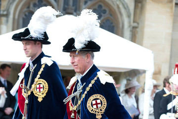 Prince William Prince Charles Queen Elizabeth II and Members Of The Royal Family Attend The Order Of The Garter Service