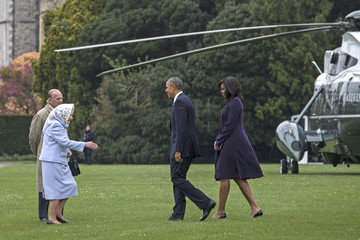 Queen Elizabeth II Prince Phillip President Obama And The First Lady Lunch With The Queen and Prince Philip