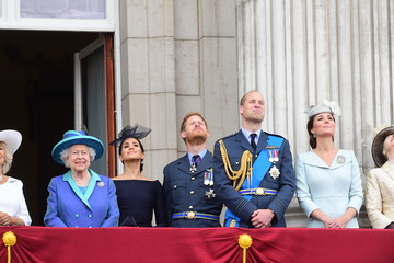 Queen Elizabeth II Princess Anne Members Of The Royal Family Attend Events To Mark The Centenary Of The RAF
