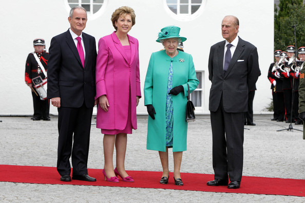 Queen Elizabeth II Dr Martin Mc Aleese, President Mary Mc Aleese, Queen Elizabeth II and Prince Philip The Duke of Edinburgh pose for a photo at Aras An Uachtarain on May 17, 2011 in Dublin,Ireland. The Queen's visit, accompanied by The Duke of Edinburgh, is the first by a monarch since 1911. An unprecedented security operation is taking place with much of the centre of Dublin turning into a car free zone. Republican dissident groups have made it clear they are intent on disrupting proceedings.
