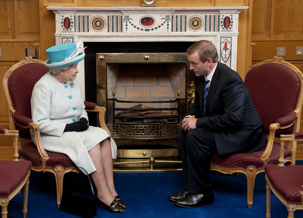 Queen Elizabeth II Queen Elizabeth II (L) and Taoiseach of Ireland Enda Kenny talk during a visit to Government Buildings on Merrion Street on May 18, 2011 in Dublin, Ireland. The Duke and Queen's visit to Ireland is the first by a British monarch since 1911. An unprecedented security operation is taking place with much of the centre of Dublin turning into a car-free zone. Republican dissident groups have made it clear they are intent on disrupting proceedings.