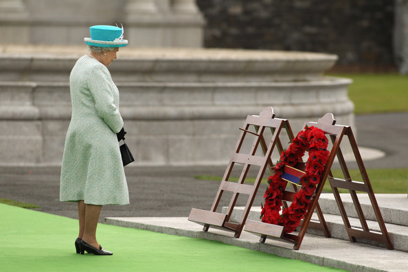 Queen Elizabeth II Queen Elizabeth II observes a minute's silence after laying a wreath of poppy flowers at the Irish War Memorial Garden in Islandbridge on May 18, 2011 in Dublin, Ireland. The Duke and Queen's visit to Ireland is the first by a British monarch since 1911. An unprecedented security operation is taking place with much of the centre of Dublin turning into a car-free zone. Republican dissident groups have made it clear they are intent on disrupting proceedings.