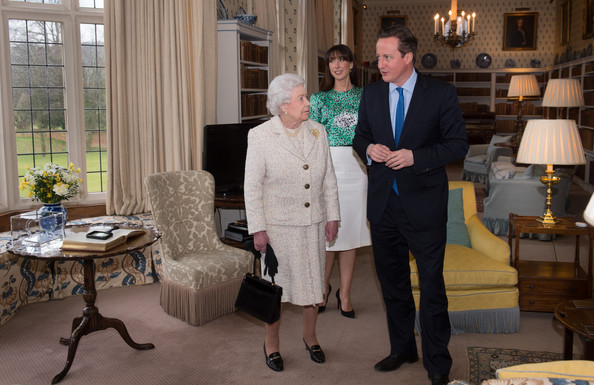 Queen Elizabeth II Visits the PM's Residence [event,room,suit,interior design,house,white-collar worker,furniture,formal wear,david cameron,elizabeth ii,philip,queen,samantha,lunch,time,lunch,chequers,pm]