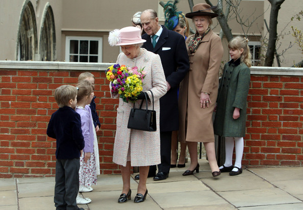 The Royal Family Attend The Easter Matins Service At Windsor Castle [the royal family,event,ceremony,grandparent,family,philip,elizabeth ii,children,service,flowers,windsor castle,edinburgh,easter matins service,easter day]
