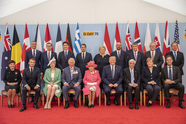 British D-Day Commemoration In Portsmouth [event,news conference,government,team,charles michel,elizabeth ii,donald trump,prime minister,president,commemoration,british,portsmouth,united states,d-day]