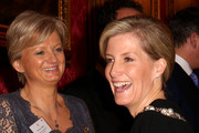 Sophie, Countess of Wessex meets television presenter Alice Beer during a reception to celebrate the patronages & affiliations of the Earl and Countess of Wessex hosted by Queen Elizabeth II at Buckingham Palace on February 10, 2015 in London, England