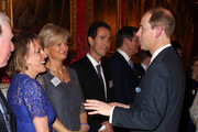 Prince Edward, Earl of Wessex meets television presenters Alice Beer (C) and Esther Rantzen (2nd left) during a reception to celebrate the patronages & affiliations of the Earl and Countess of Wessex hosted by Queen Elizabeth II at Buckingham Palace on February 10, 2015 in London, England