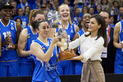 Queen Letizia of Spain hands Silvia Dominguez of Perfumerias Avenida the Queen Cup trophy at the end of the Spanish 'Queen Cup' basketball final between Perfumerias Avenida and Spar CityLift Girona at Sanchez Paraiso stadium on March 08, 2020 in Salamanca, Spain.