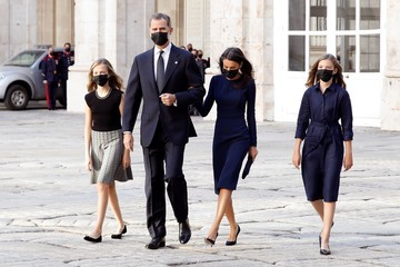Queen Letizia of Spain King Felipe of Spain Official Event Tribute For Covid Victims In Spain