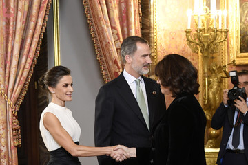 Queen Letizia of Spain King Felipe of Spain Spanish Royals Receive COP25 Participants At The Royal Palace