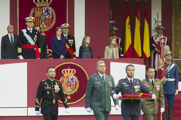 Queen Letizia of Spain King Felipe of Spain Spanish Royals Attend National Day Military Parade 2015