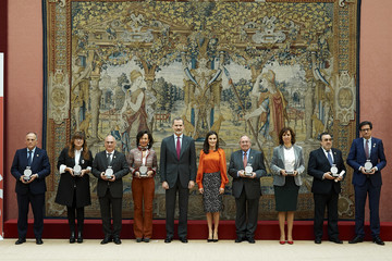 Queen Letizia of Spain King Felipe VI of Spain Spanish Royals Deliver Accreditations On The 8th Promotion Of Honorary Ambassadors For 'Spain' Brand