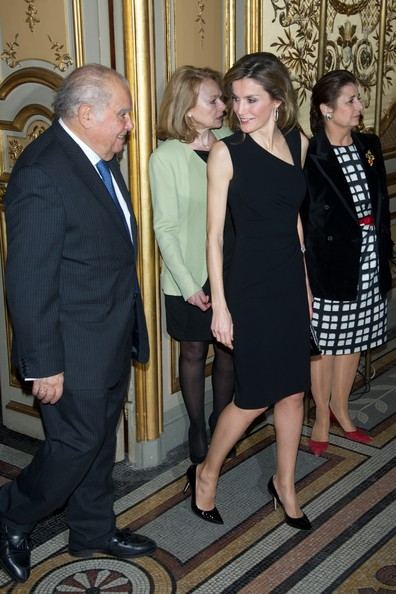 Spanish Royals Attend a Tribue [event,fashion,suit,formal wear,dress,little black dress,spanish royals attend a tribute to enrique v. iglesias,letizia of spain,r,tribute,madrid,casa de america,spain,iberoamerican secretariat]