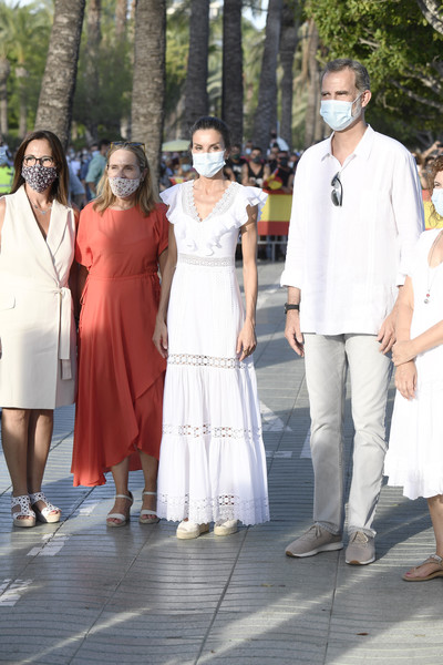 Spanish Royals Visit Ibiza [white,event,ceremony,temple,wedding,gesture,letizia,felipe,ibiza,spain,spanish,town,royals,visit,ceremony,tour,ceremony,gown,tradition,socialite,two pence]