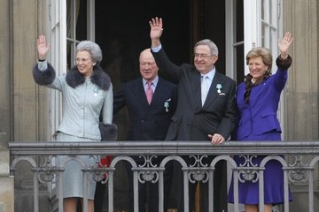 Constantine II of Greece Queen Margrethe II of Denmark Celebrates 40 Years on The Throne - Balcony Views
