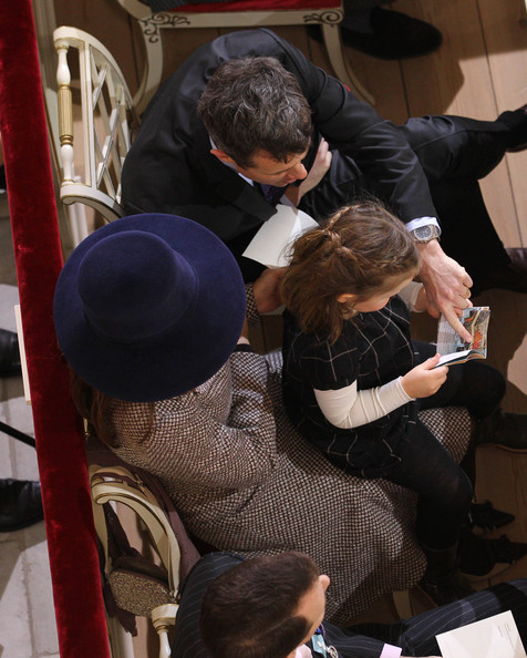 Princess Mary of Denmark and Crown Prince Frederik of Denmark attend a service to celebrate Queen Margrethe II of Denmark's 40 years on the throne at Christiansborg Palace Chapel on January 15, 2012 in Copenhagen, Denmark.