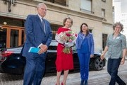 Queen Mathilde of Belgium, flanked by politicians Fran?ois-Xavier de Donnea and Marie Christine Marghem, arrives at the Residence Palace prior to attend the 25th anniversary of the Belgian Council for Durable Development on October 12, 2018 in Brussels, Belgium.