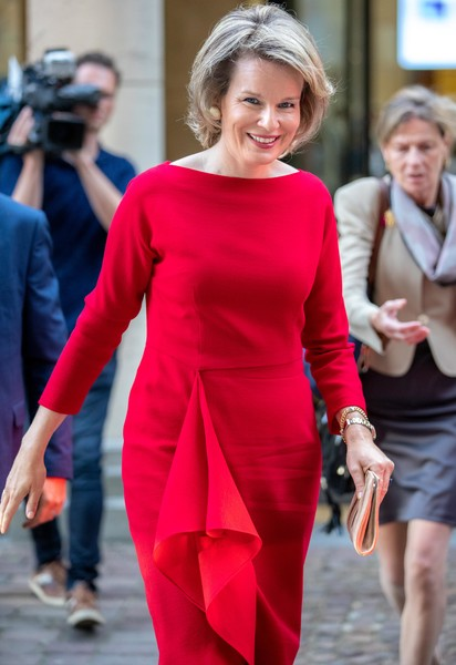 Queen Mathilde Of Belgium Attends The 25th Anniversary Of Belgian Council For Durable Development In Brussels Residence Palace
