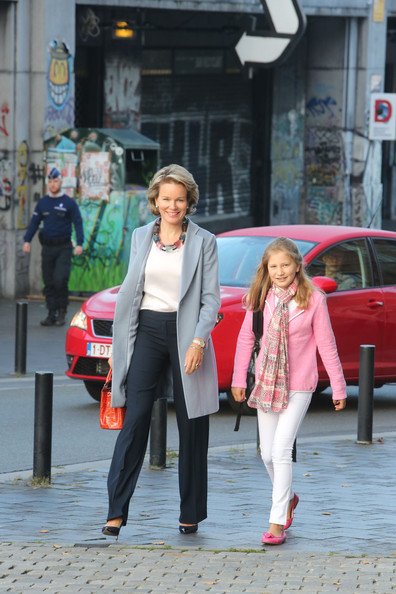Queen Mathilde and Princess Elisabeth of Belgium arrive at Sint-Jans Berghmanscollege to attend the first of the day of the school year on September 1, 2014 in Brussel, Belgium.